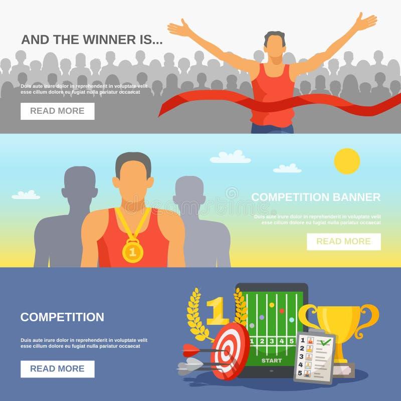 Знамена конкуренции горизонтальные иллюстрация штока