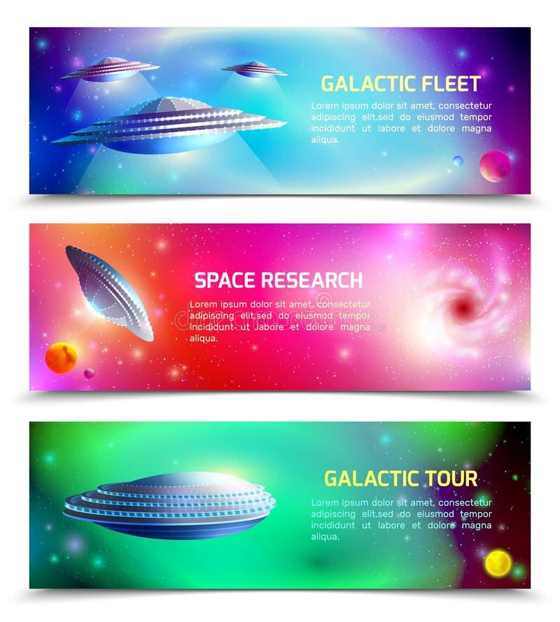 Знамена космического корабля чужеземца горизонтальные иллюстрация штока
