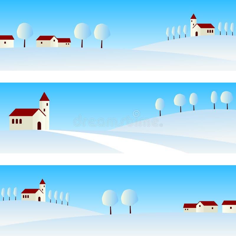 Знамена ландшафта зимы иллюстрация вектора