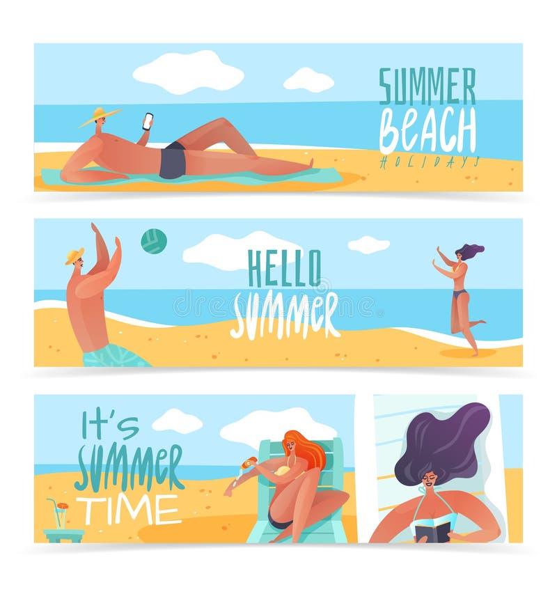 Знамена летних отпусков горизонтальные иллюстрация вектора