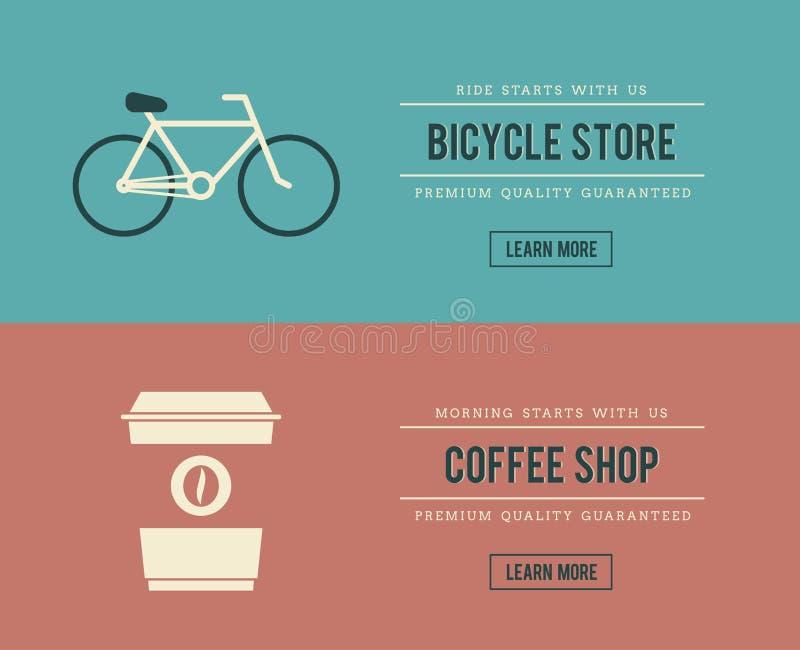 Знамена магазина и кофейни велосипеда иллюстрация штока