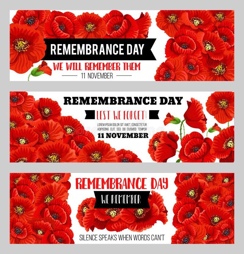 Знамена мака вектора 11-ое ноября день памяти погибших в первую и вторую мировые войны иллюстрация штока