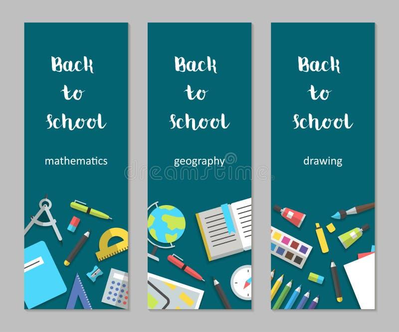 Знамена математика вектора установленные вертикальные, землеведение, рисуя школьные принадлежности плоско иллюстрация штока