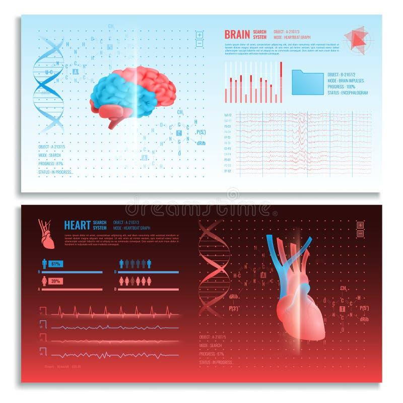 Знамена медицинского интерфейса Hud горизонтальные иллюстрация штока