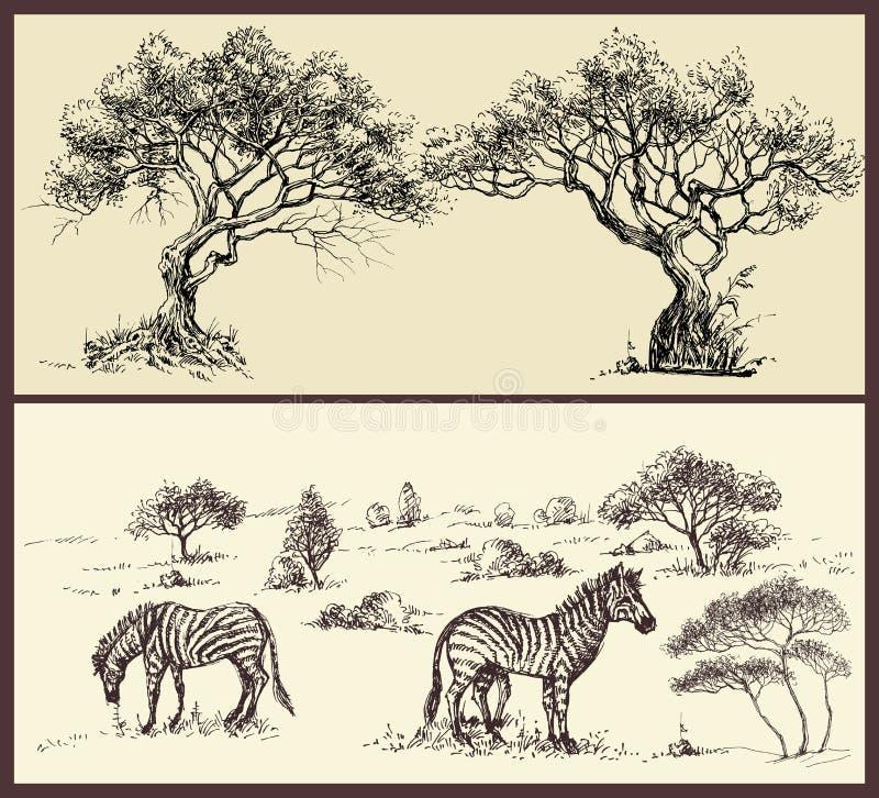 Знамена набор, ландшафт и животные природы бесплатная иллюстрация