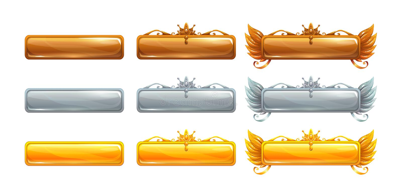Знамена названия вектора шаржа установили для былинной игры иллюстрация штока