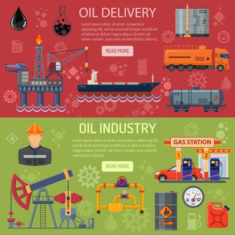 Знамена нефтедобывающей промышленности иллюстрация вектора