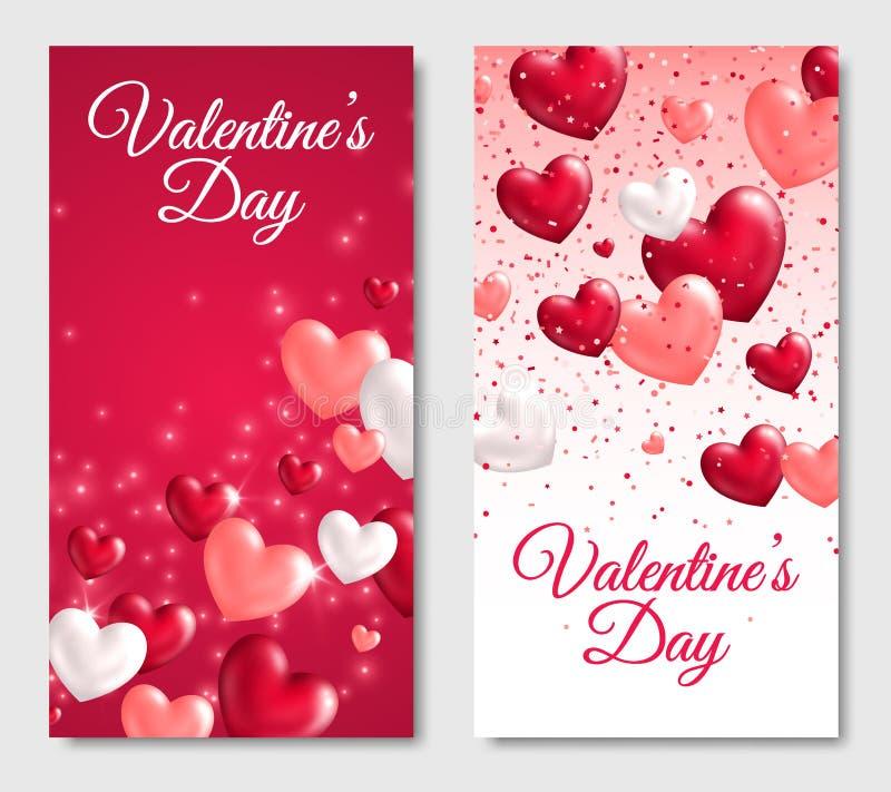 Знамена дня валентинок вертикальные с лоснистыми сердцами бесплатная иллюстрация
