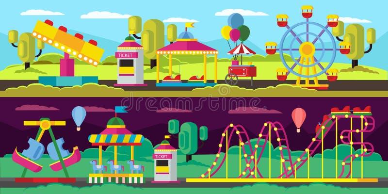 Знамена парка атракционов горизонтальные иллюстрация штока