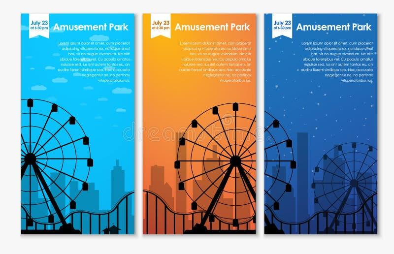 Знамена парка атракционов дизайна иллюстрация штока