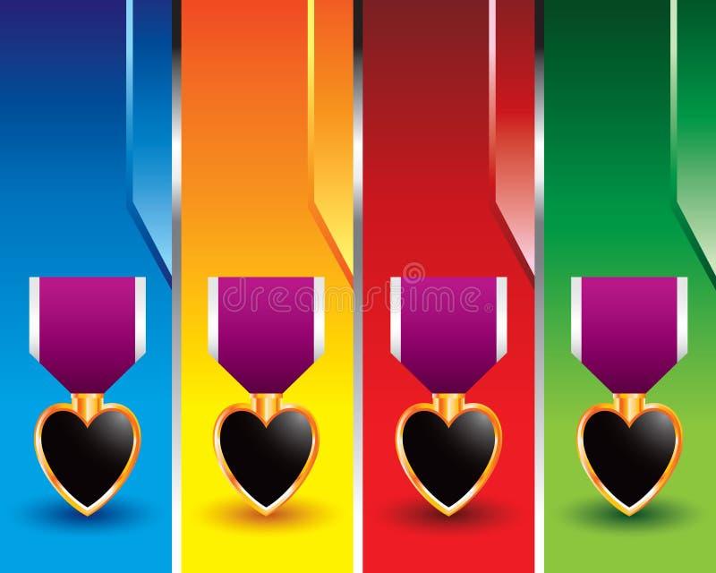 знамена покрасили вертикаль сердца пурпуровую иллюстрация штока