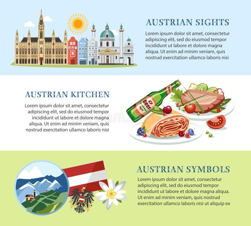 Знамена предпосылки Австрии горизонтальные с традиционными символами бесплатная иллюстрация