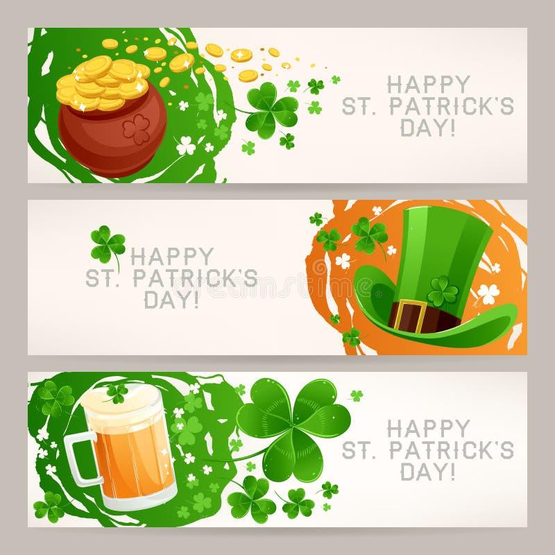 Знамена приветствию к дню St. Patricks иллюстрация штока