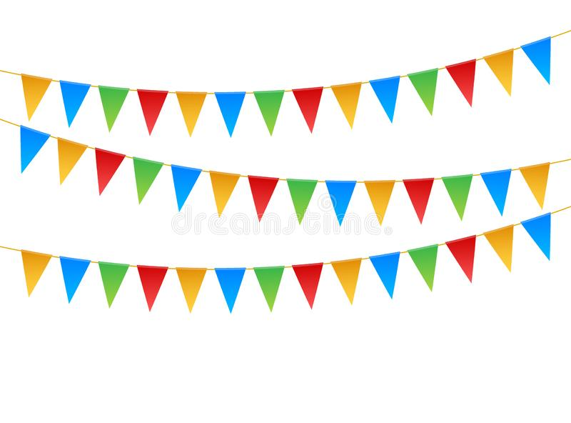 Знамена приглашения дня рождения Установите гирлянд флага r иллюстрация вектора