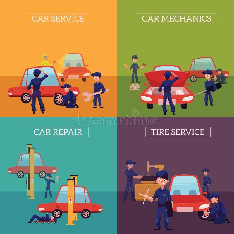 Знамена при механики ремонтируя, обслуживая автомобили иллюстрация штока