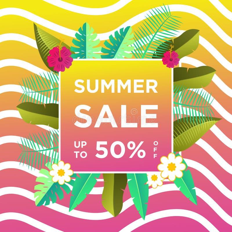 Знамена продажи лета или шаблон дизайна предпосылки красочный Смогите быть использовано для плакатов, знамен, продвижений на вебс иллюстрация штока