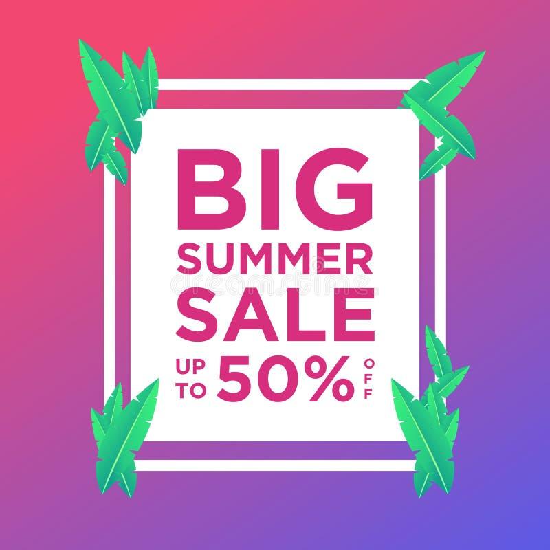 Знамена продажи лета или шаблон дизайна предпосылки красочный Смогите быть использовано для плакатов, знамен, продвижений на вебс иллюстрация вектора