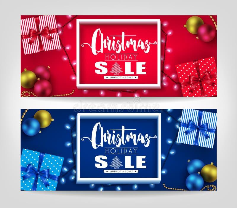 Знамена продажи праздника рождества реалистические установили с рамкой 3D бесплатная иллюстрация