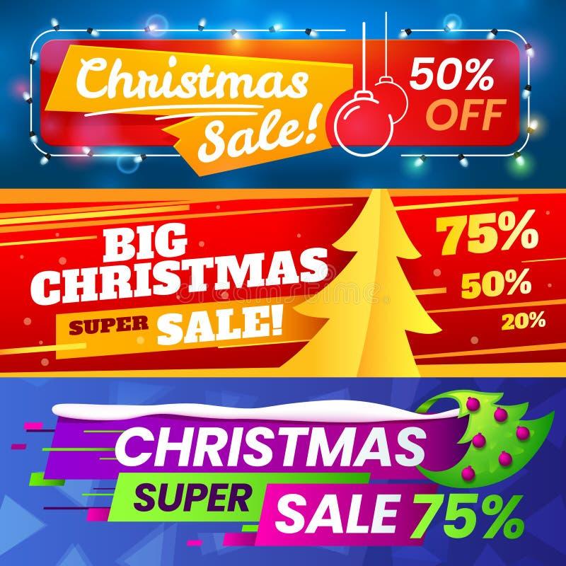 Знамена продажи Xmas Маркетинг рождества рекламы общается, продажа зимнего отдыха и специальный комплект знамени вектора предложе бесплатная иллюстрация