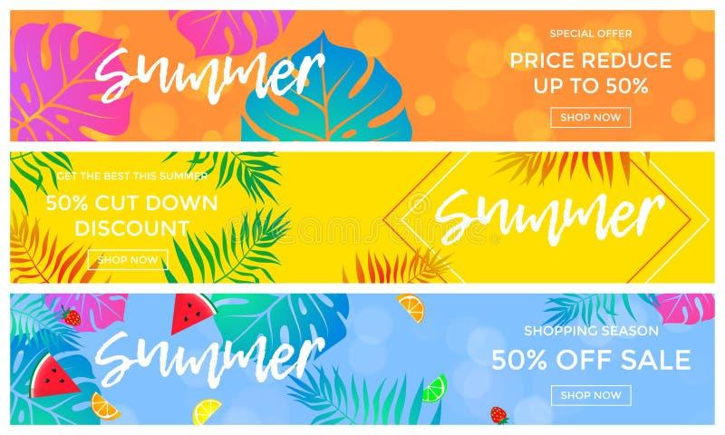 Знамена продажи лета плодоовощей и лист ладони vector онлайн рогулька покупок бесплатная иллюстрация
