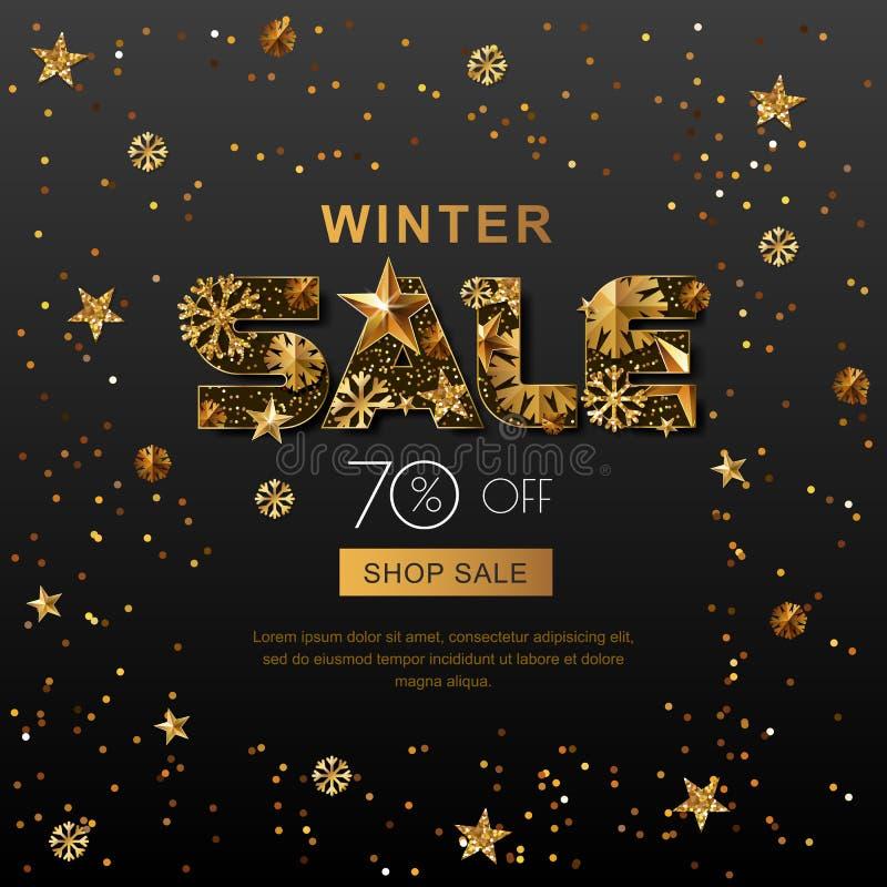 Знамена продажи зимы с звездами и снежинками золота 3d Плакат зимних отдыхов вектора, золотая черная предпосылка бесплатная иллюстрация