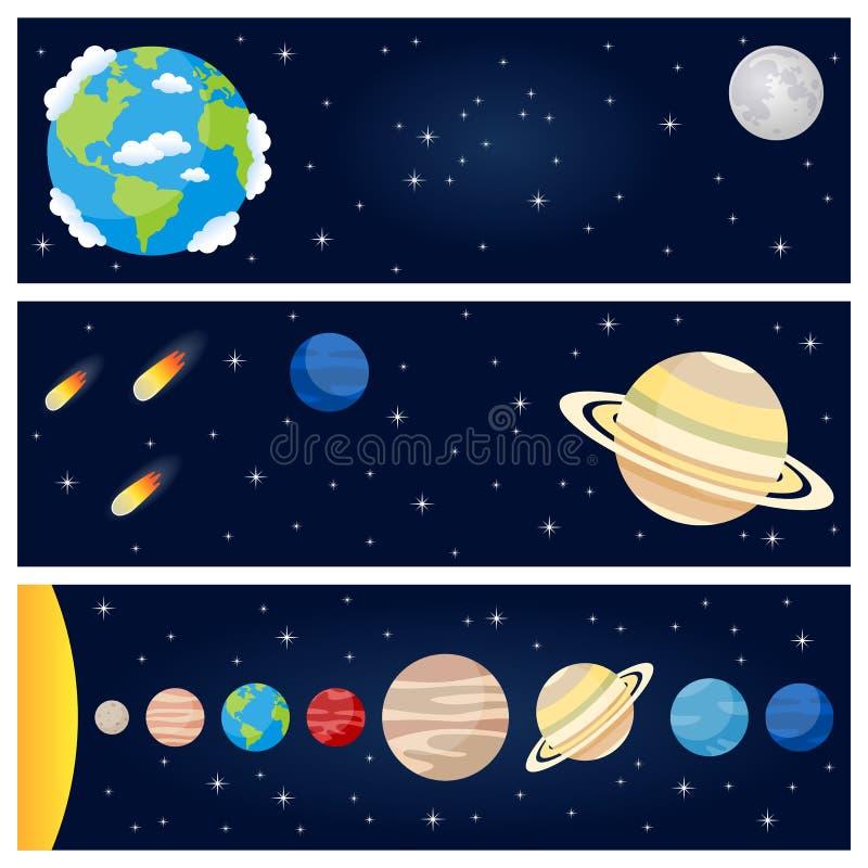 Знамена планет солнечной системы горизонтальные иллюстрация вектора