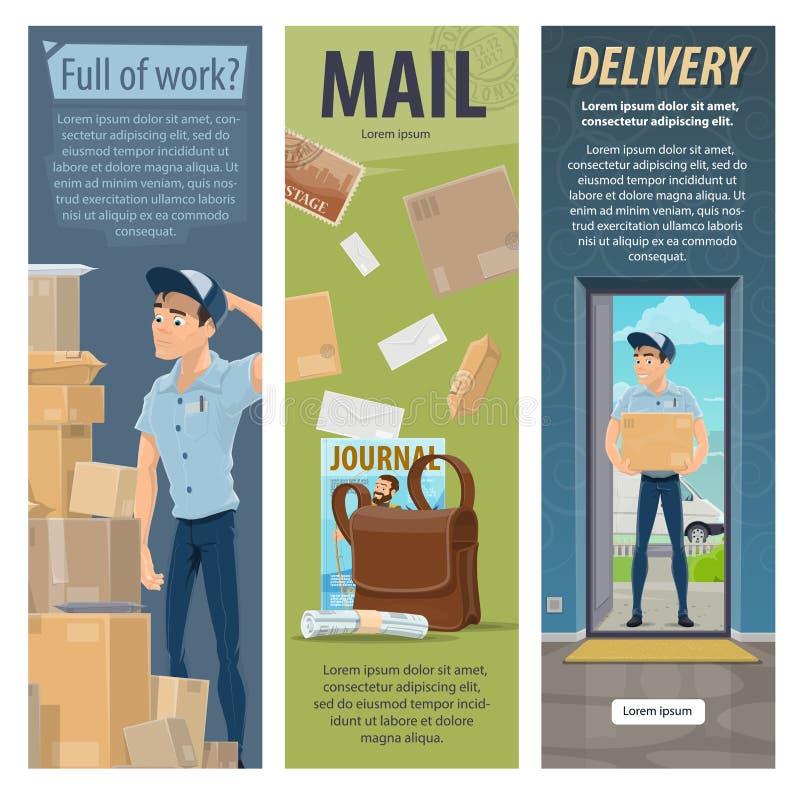 Знамена работы почтальона вектора доставки почты столба иллюстрация штока