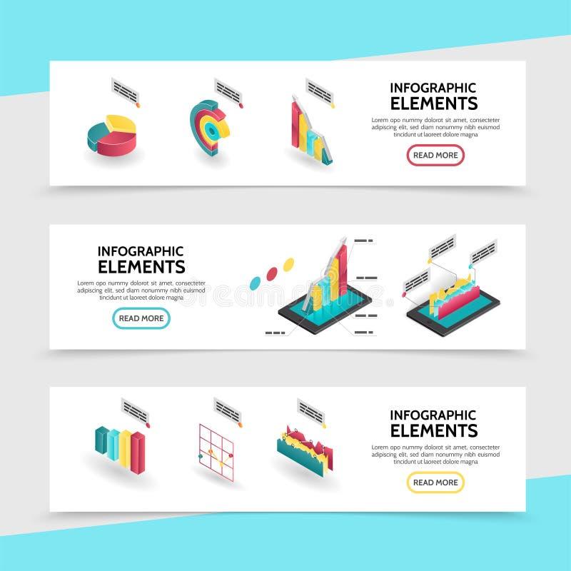 Знамена равновеликих элементов Infographic горизонтальные иллюстрация штока