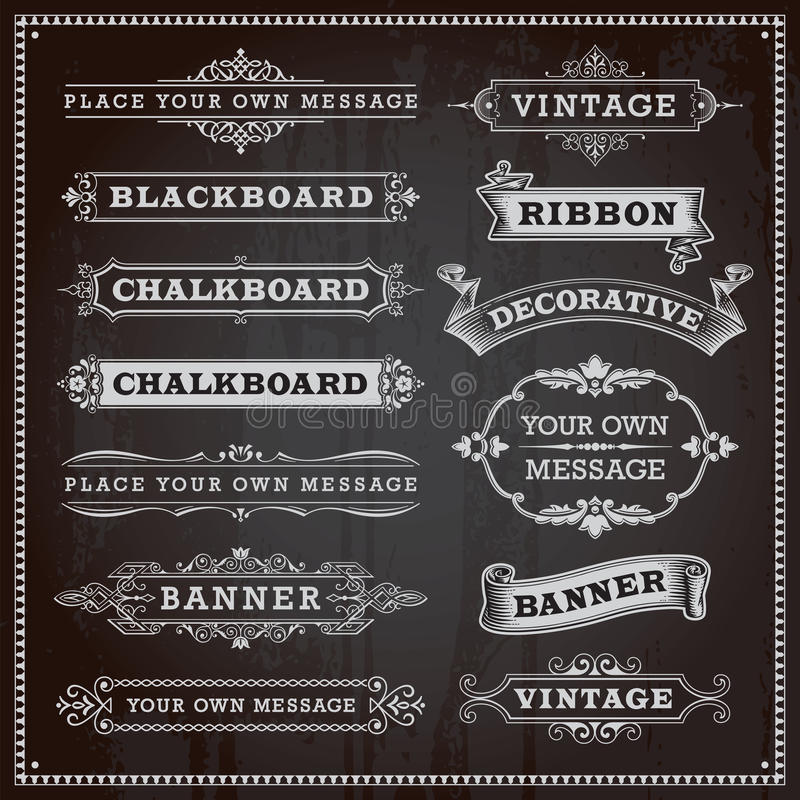 Знамена, рамки и ленты, стиль доски иллюстрация штока