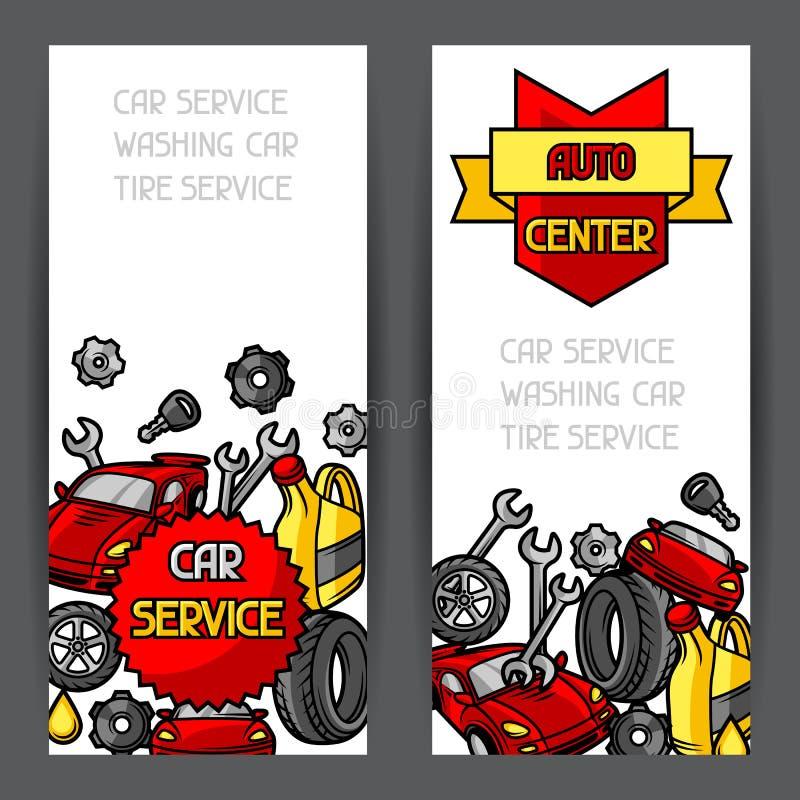 Знамена ремонта автомобиля конструируют с объектами и деталями обслуживания бесплатная иллюстрация