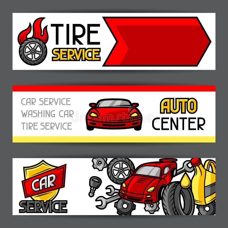 Знамена ремонта автомобиля конструируют с объектами и деталями обслуживания иллюстрация штока