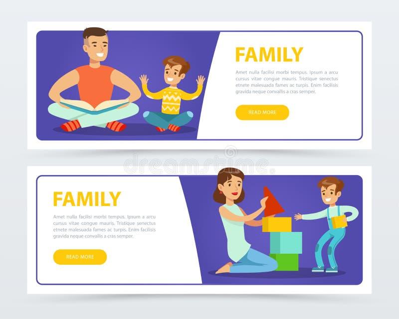 Знамена семьи устанавливают, счастливые родители играя и книги чтения с их детьми плоско vector элемент для вебсайта или бесплатная иллюстрация