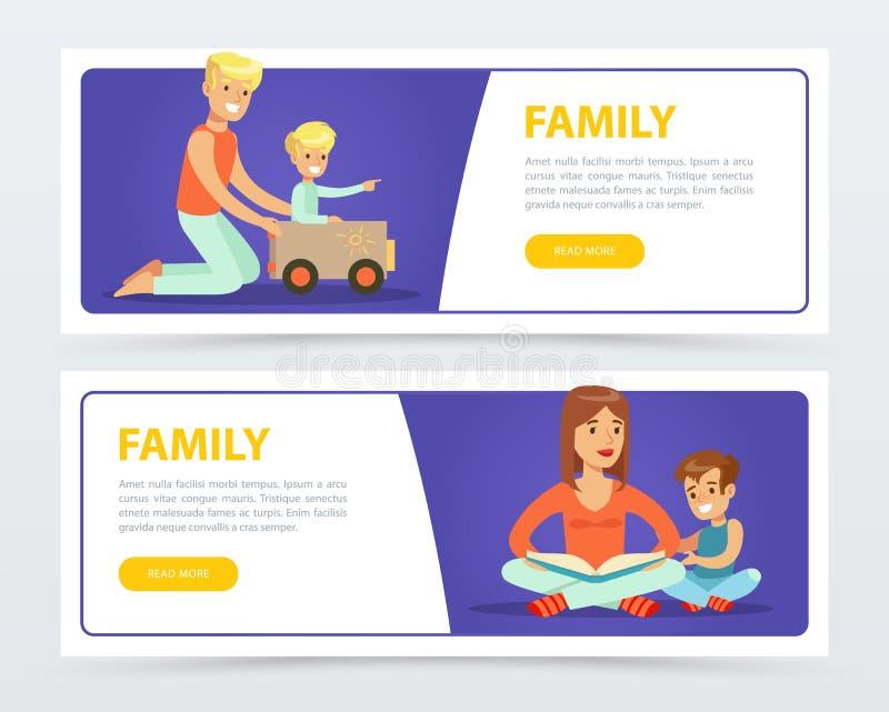 Знамена семьи устанавливают, счастливые родители играя и книги чтения с их детьми плоско vector элемент для вебсайта или черни иллюстрация вектора