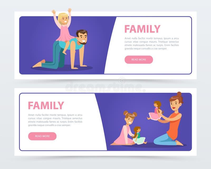 Знамена семьи установили, счастливые родители играя и имея потеху с их элементом вектора детей плоско для вебсайта или передвижно бесплатная иллюстрация