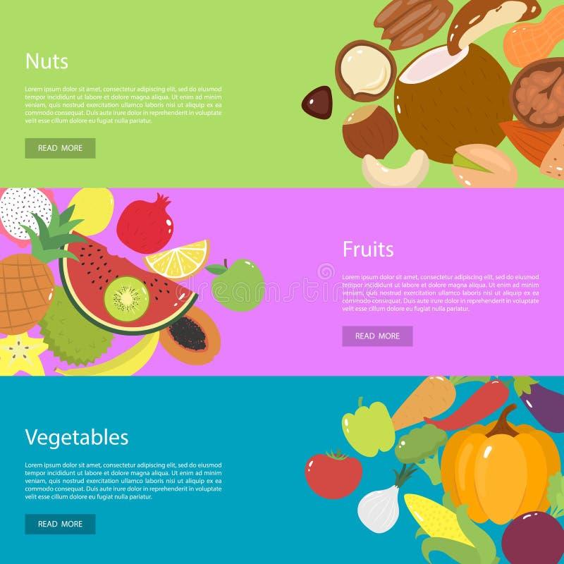 Знамена сети дизайна шаблона горизонтальные для гаек, фруктов и овощей иллюстрация вектора