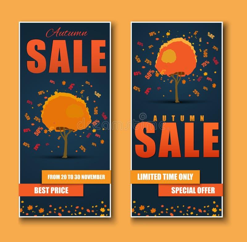 Знамена сети дизайна для продажи с осенним деревом с скидками иллюстрация вектора
