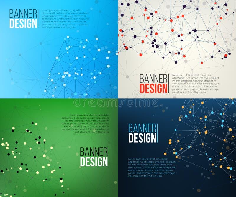 Знамена сети с точками соединенными линиями принципиальная схема цифрово произвела высокий social res сети изображения иллюстрация вектора