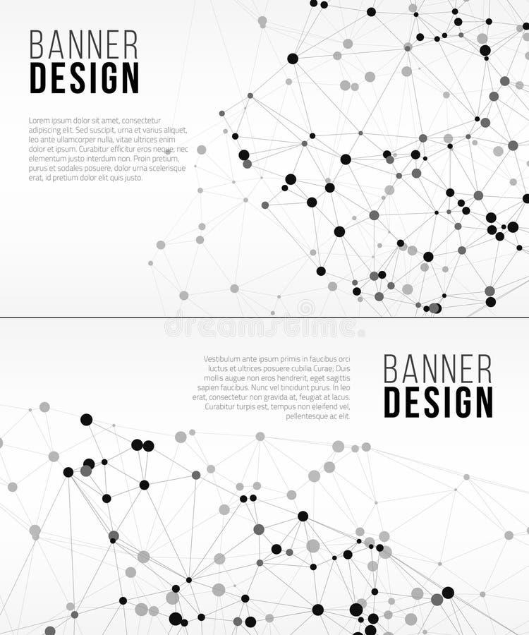 Знамена сети с точками соединенными линиями принципиальная схема цифрово произвела высокий social res сети изображения иллюстрация штока