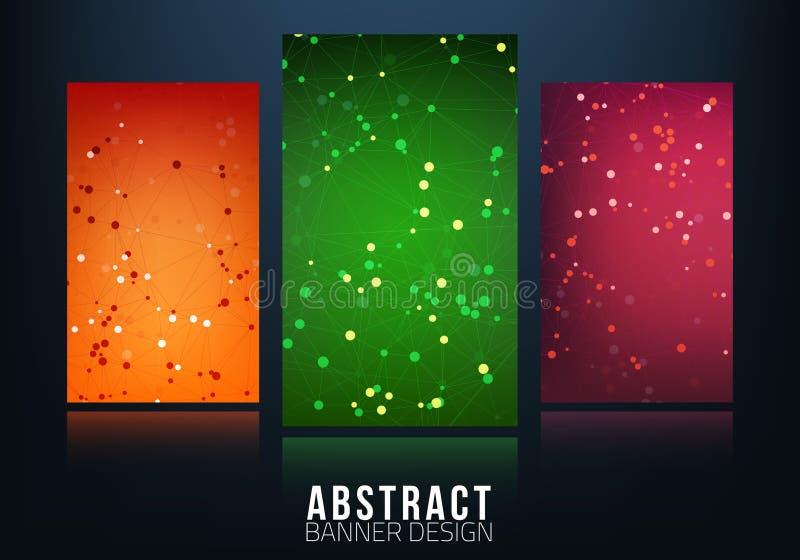 Знамена сети с точками соединенными линиями принципиальная схема цифрово произвела высокий social res сети изображения бесплатная иллюстрация