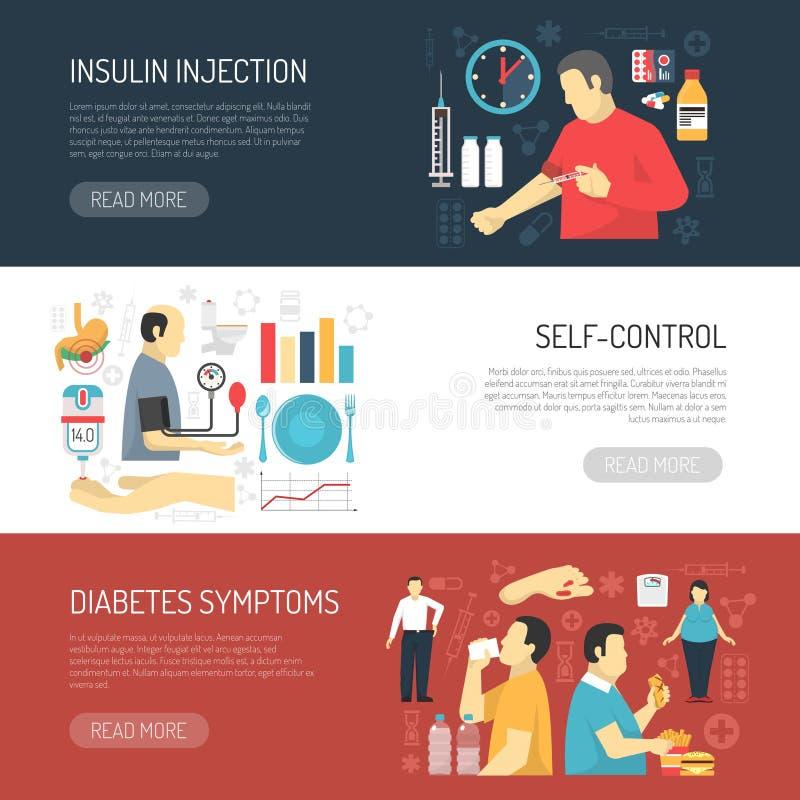 Знамена симптомов диабета горизонтальные иллюстрация штока