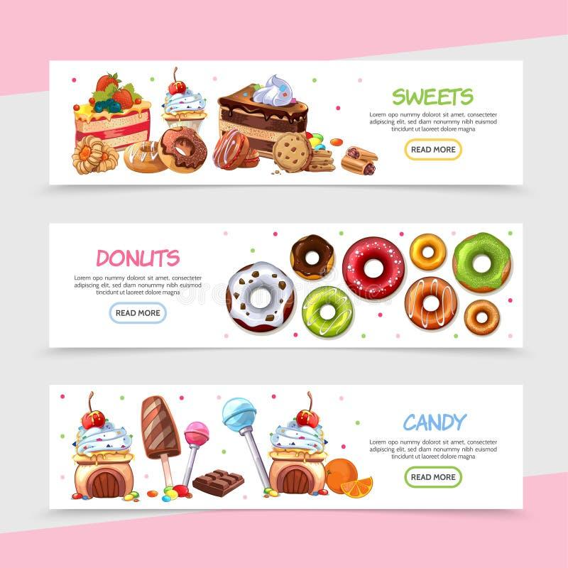 Знамена сладостных продуктов шаржа горизонтальные бесплатная иллюстрация