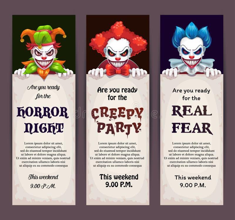 Знамена события торжества хеллоуина с страшными сторонами клоуна иллюстрация штока