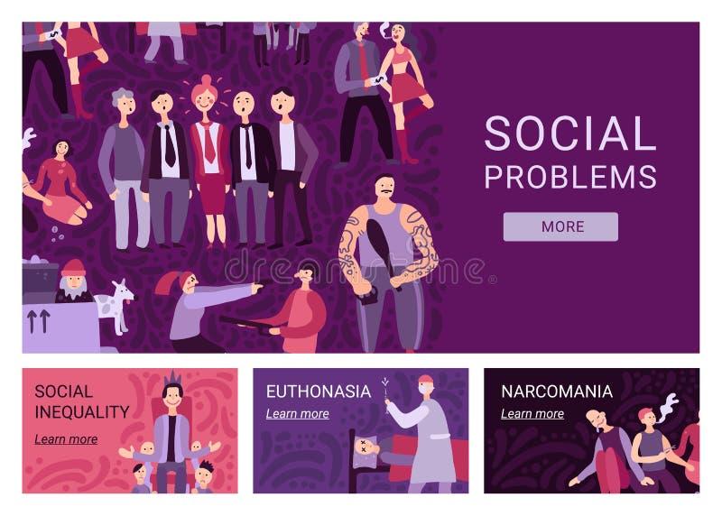 Знамена социальных проблем горизонтальные иллюстрация штока
