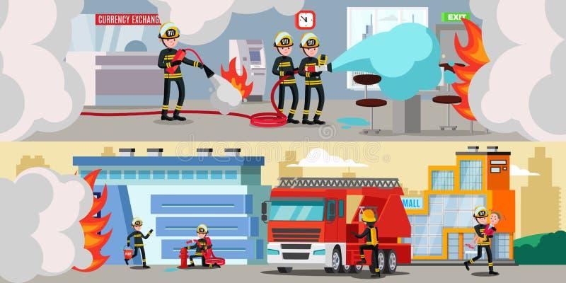 Знамена спасательной службы красочные горизонтальные бесплатная иллюстрация