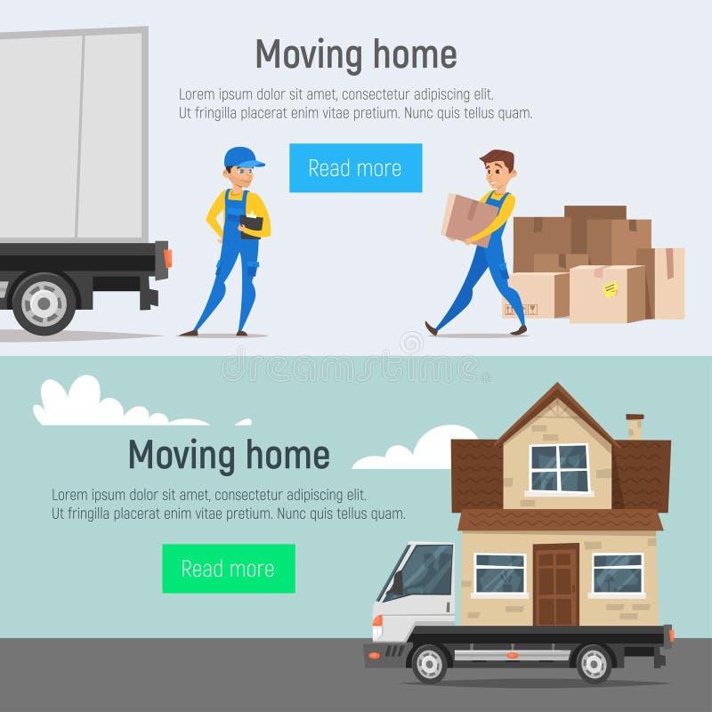 Знамена стиля шаржа вектора moving домашние человека движенцов затяжелителей иллюстрация вектора