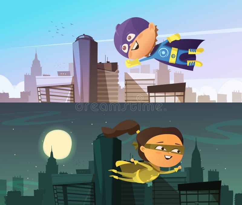 Знамена супергероя 2 детей горизонтальные бесплатная иллюстрация