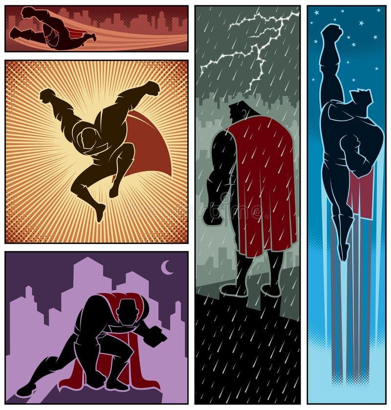 Знамена 3 супергероя иллюстрация штока
