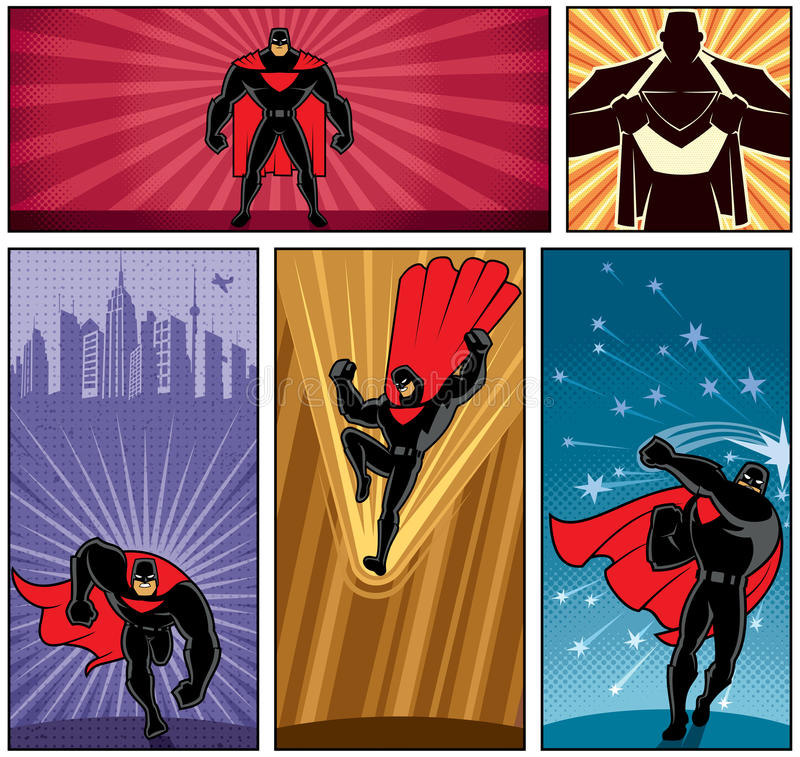 Знамена 5 супергероя бесплатная иллюстрация