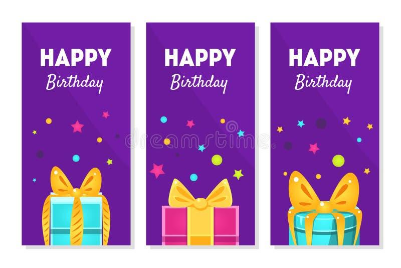 Знамена с днем рождений установили, счастливые поздравительные открытки праздников с иллюстрацией вектора подарочных коробок иллюстрация вектора