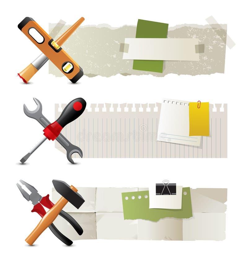 Знамена с инструментами работы иллюстрация штока